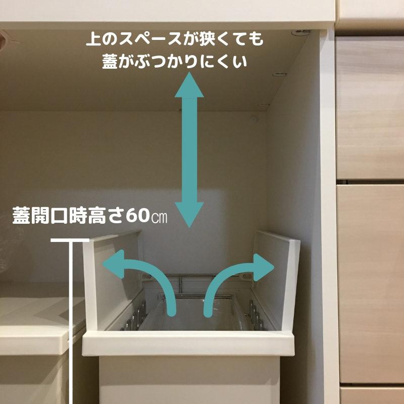 ケユカダストボックスは観音開きで蓋が上にぶつからない