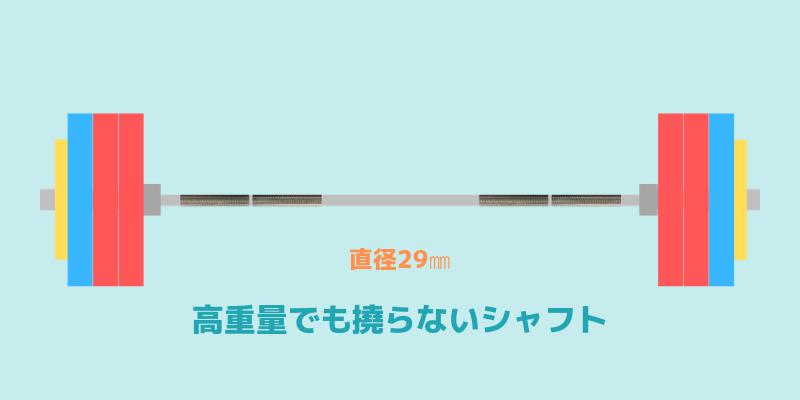 オリンピックシャフトは直径29㎜で撓らないものを選ぶ