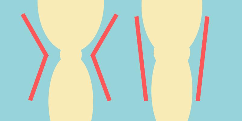 脚の形状、膝の太さは個人差あり