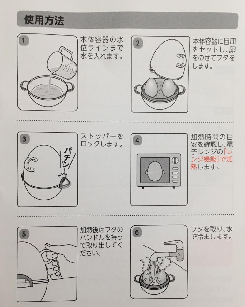 レンジでらくチンゆでたまごの使い方